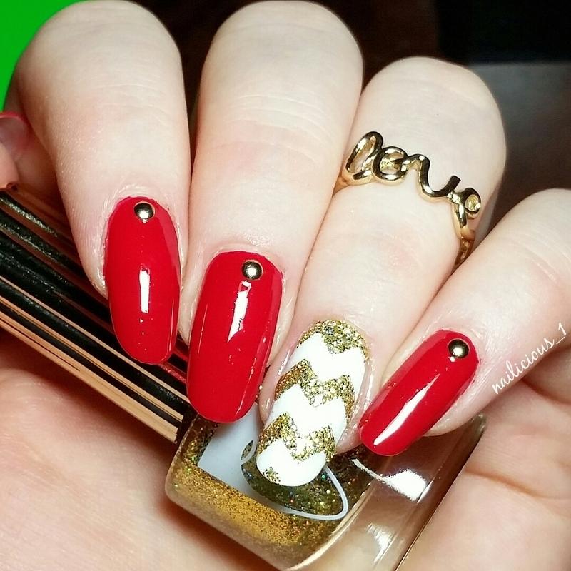 Gold chevrons nail art by nailicious_1