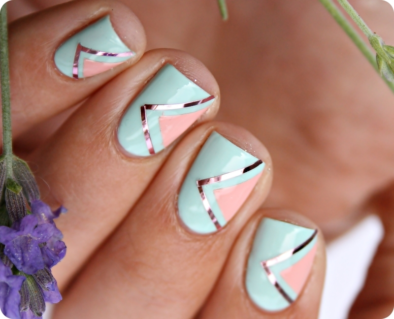 Geometric Pastel Nails nail art by Romana