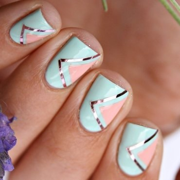 Geometric Pastel Nails nail art by Romana
