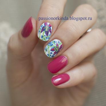 Mixed pattern nail art by Passionorkinda