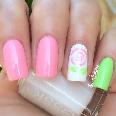 Outline rose nail art by Melissa