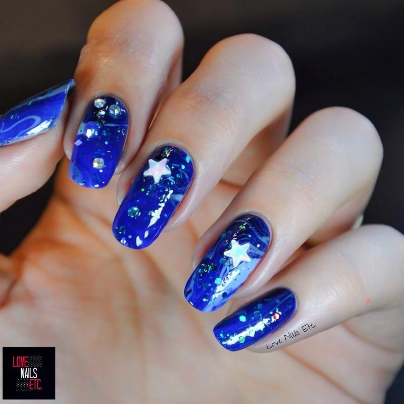 Galaxy & Stars nail art by Love Nails Etc