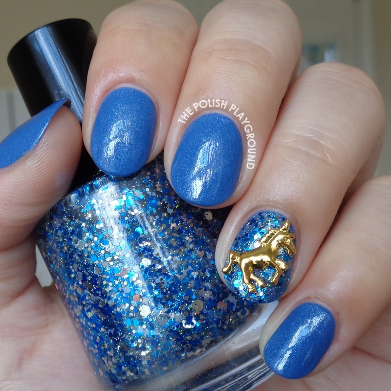 Blue Shimmer and Gold Unicorn Stud nail art by Lisa N
