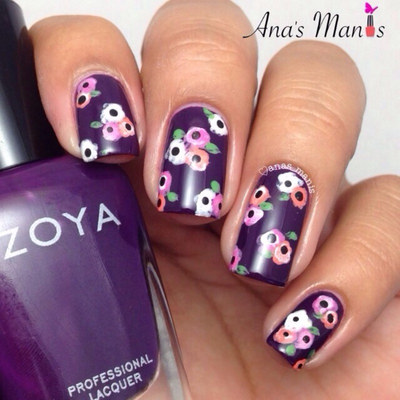 Fall floral inspired nail art by anas_manis