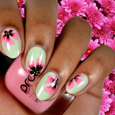 Magenta Flowers nail art by Fatimah