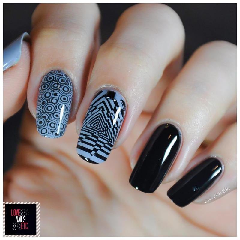 Black & Gray nail art by Love Nails Etc