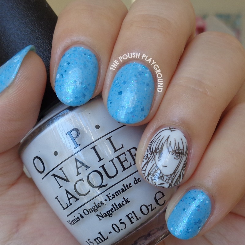 Blue Crelly with Anime Stamping Accent nail art by Lisa N - Blue Crelly With Anime Stamping Accent Nail Art By Lisa N