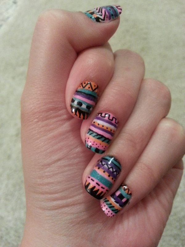 aztec tribal nail art by Maya Harran