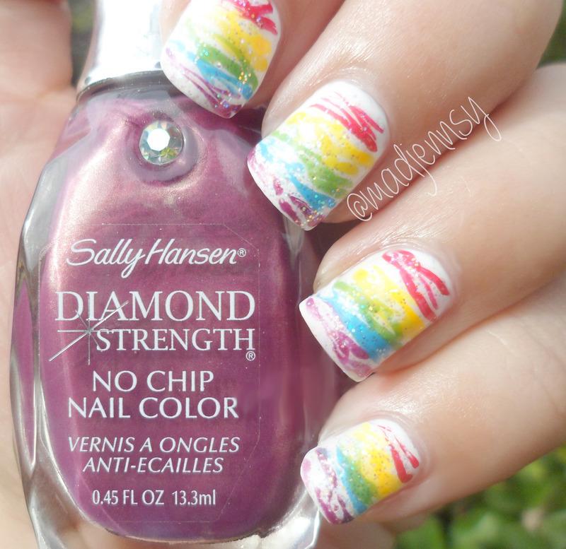Rainbow Spun Sugar Nails!  nail art by madjennsy Nail Art