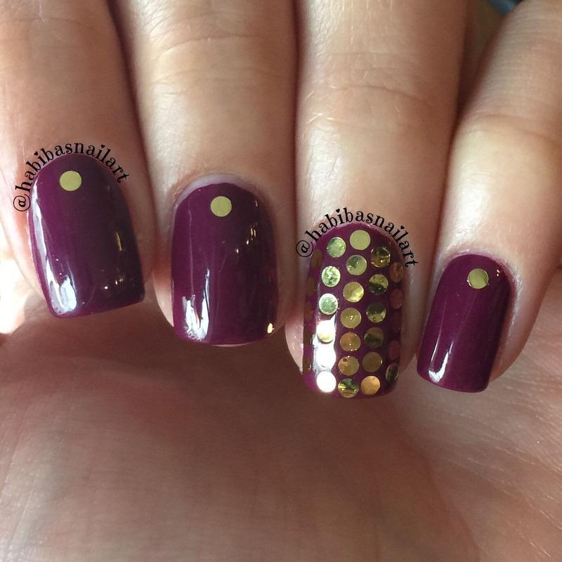 Berry with glitter placment nail art by Habiba  El-kallas