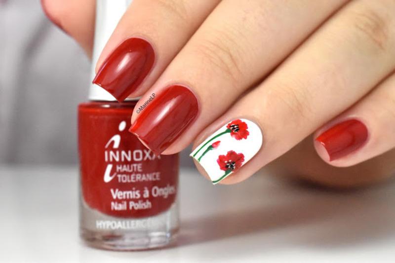 Poppies nail art by Marine Loves Polish
