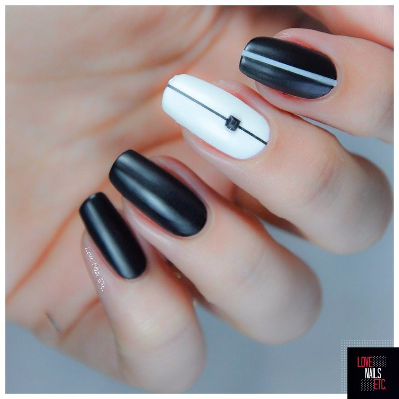 Matte Black & White nail art by Love Nails Etc - Nailpolis: Museum ...