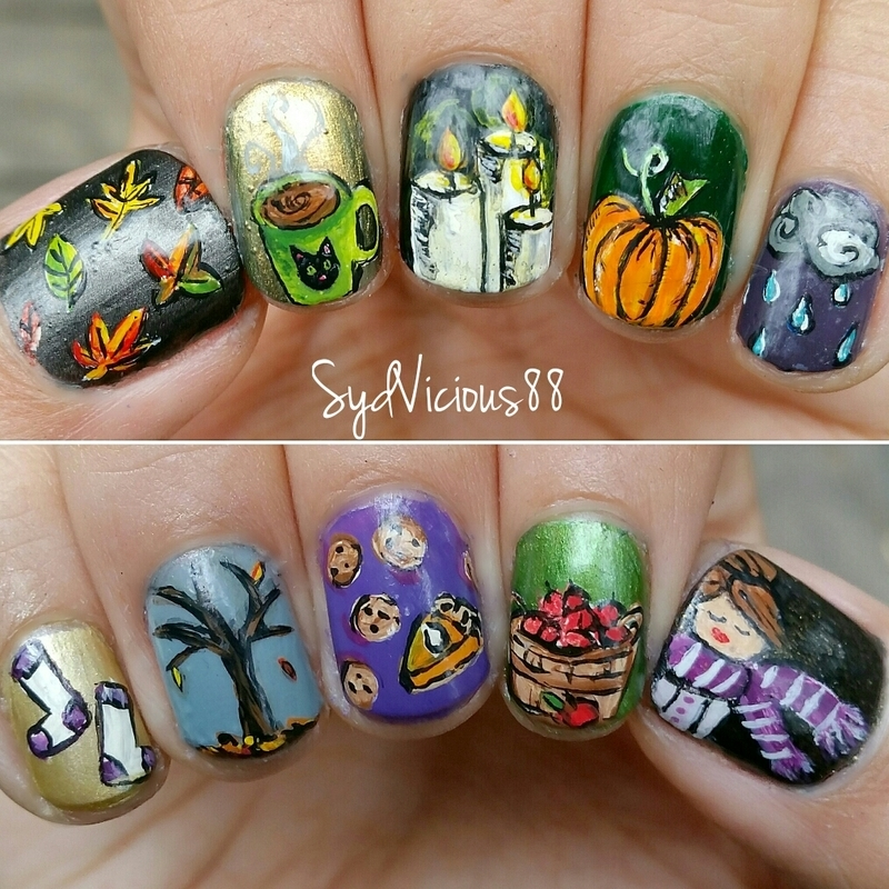 All the Fall Things  nail art by SydVicious