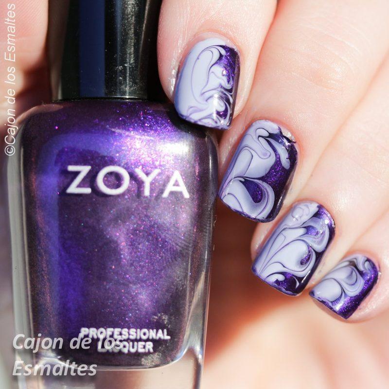 Smoky Purple Nail Dry Marble Nail Art By Cajon De Los Esmaltes