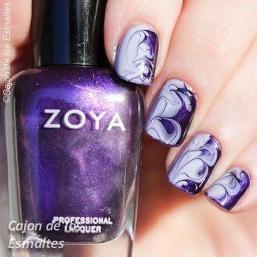 Smoky purple nail - Dry marble nail art by Cajon de los esmaltes