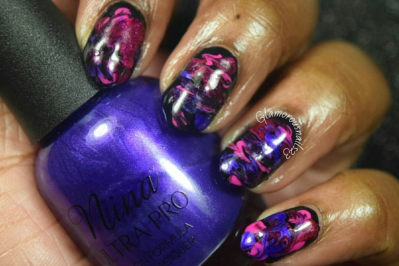 WNAC September 2015: Dry Marble nail art by glamorousnails23