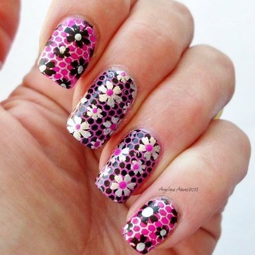 Double Stamped Floral  nail art by Angelique Adams