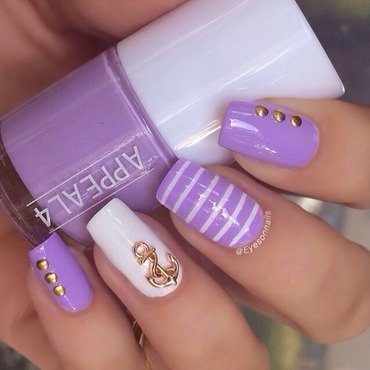 Lilac navy theme  nail art by Virginia