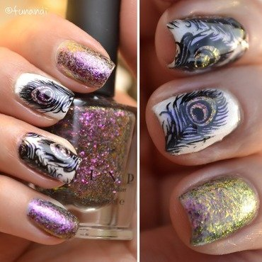 Peacock feather  nail art by Andrea  Manases