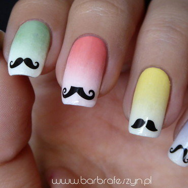 I have grown a mustache on my nails! nail art by barbrafeszyn