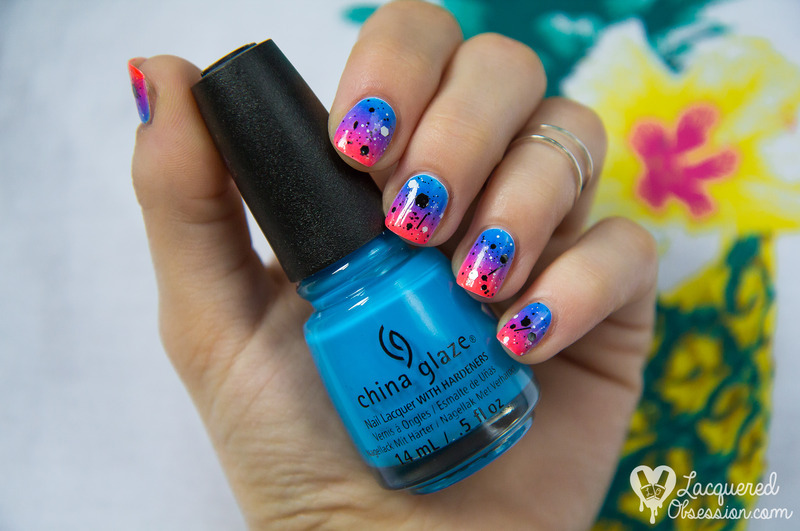 Good Vibes Only gradient nail art by Lacquered Obsession