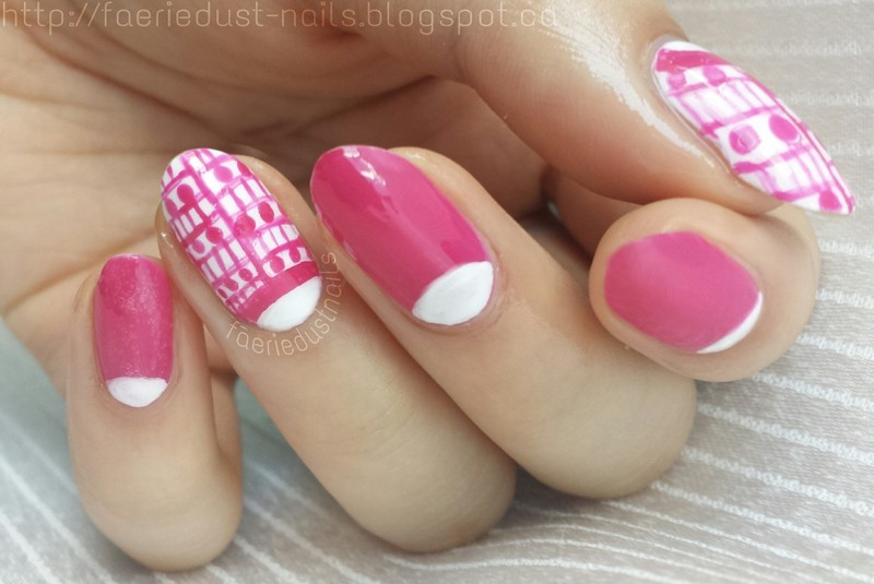 Lines and Dots Half-Moon Design nail art by Shirley X.