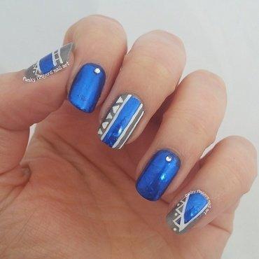 blue tribal nail art by Funky fingers nail art
