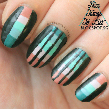 Muted Colorful Stripes nail art by Karise Tan