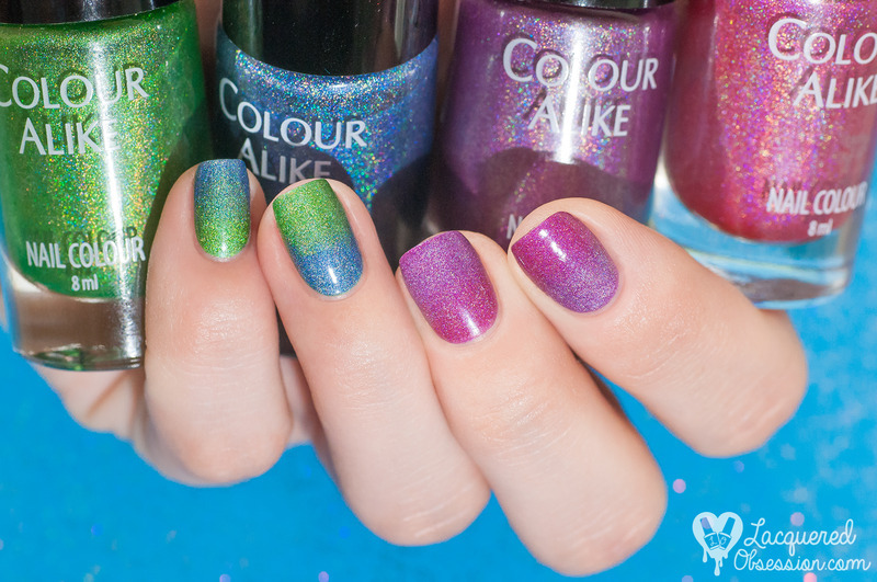 Bright holo gradients nail art by Lacquered Obsession