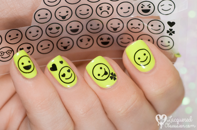 Smileys nail art by Lacquered Obsession