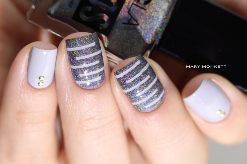 Strip et gris nail art by Mary Monkett