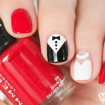 Bride & groom nail art by Lacquered Obsession