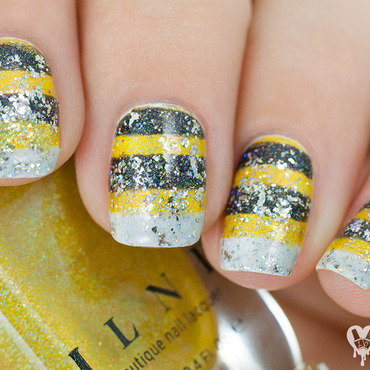 Bumble Bee nail art by Lacquered Obsession
