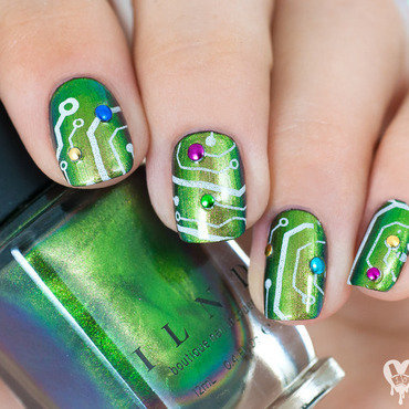 Circuit board nail art by Lacquered Obsession