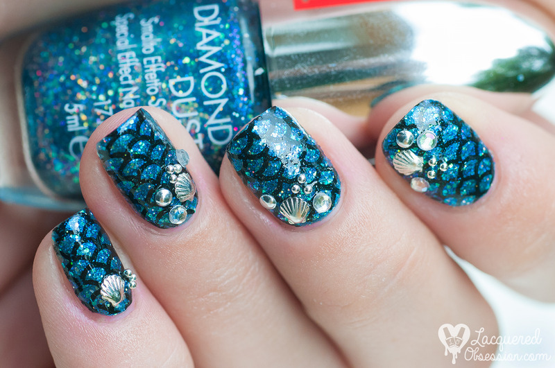 Blue mermaid nail art by Lacquered Obsession