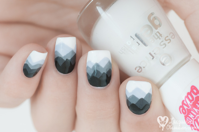Black and white mountains nail art by Lacquered Obsession