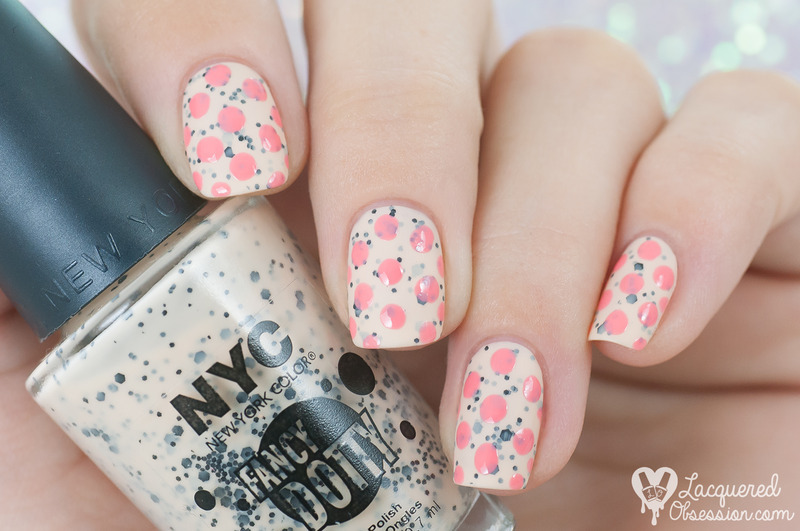 Polka dots nail art by Lacquered Obsession