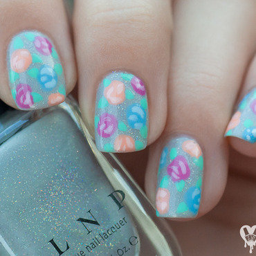 Delicate roses nail art by Lacquered Obsession