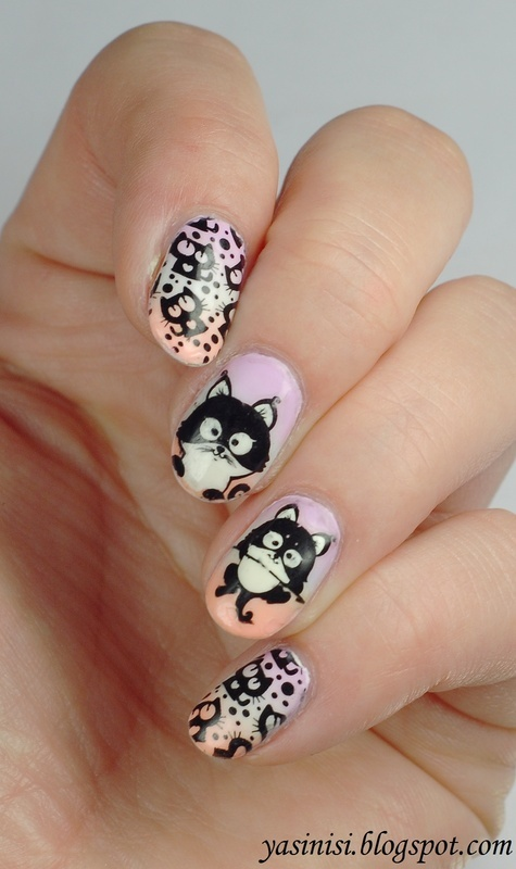 Kittens nail art by Yasinisi