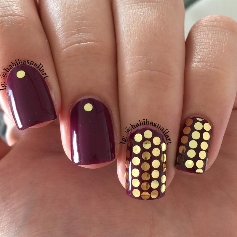 Gold glitter placment nail art by Habiba  El-kallas