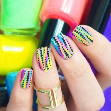 Bright Design nail art by Lou
