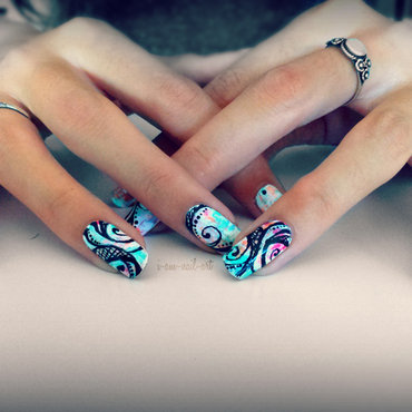 Colorful dry brush nail art by i-am-nail-art
