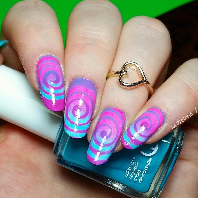 Colorful swirls nail art by nailicious_1