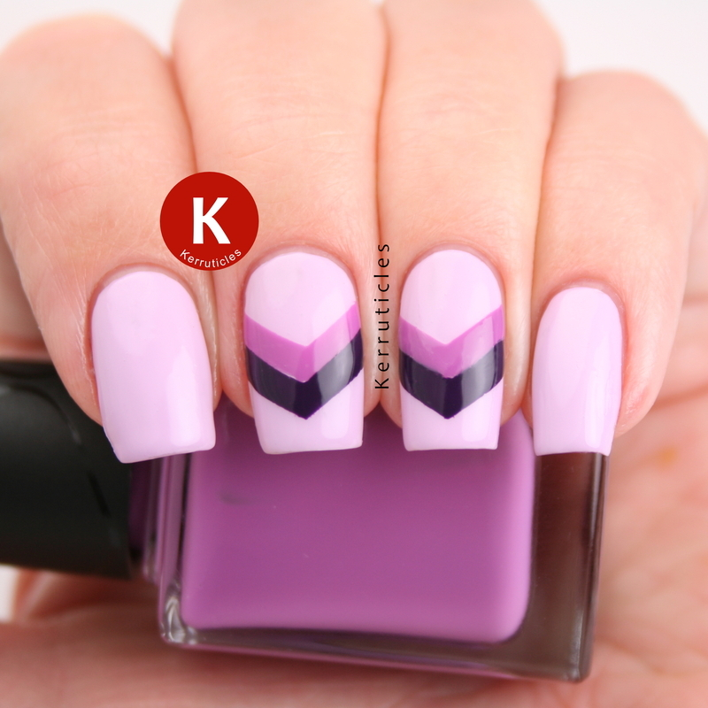 Lilac, violet and purple chevrons nail art by Claire Kerr