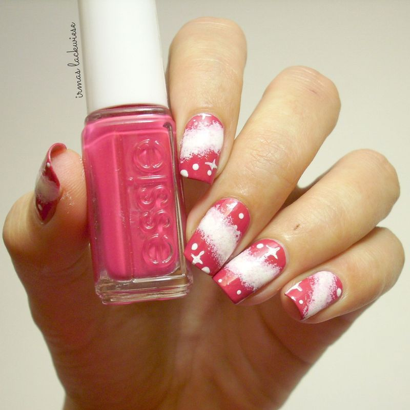 pink galaxy  nail art by irma