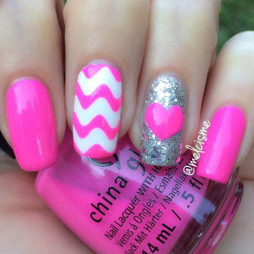 Pink! nail art by Melissa