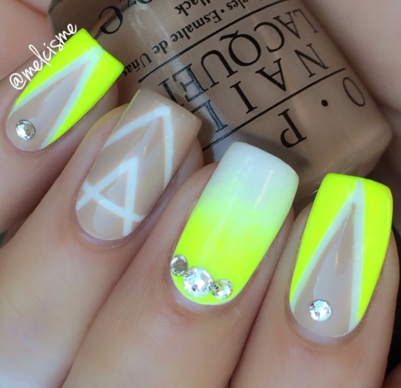 nude & neon nail art by Melissa