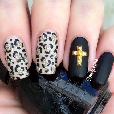 matte/leopard print nail art by Melissa