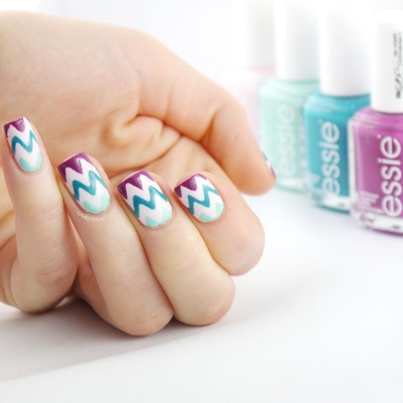 Flowerista Chevrons nail art by Ann-Kristin