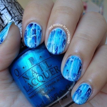 Turquoise and Navy Distressed Shatter nail art by Lisa N